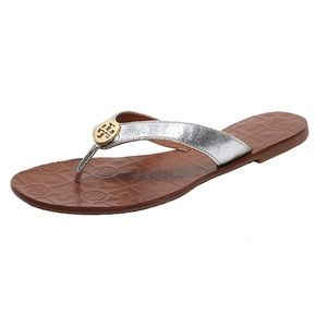 Tory Burch Thora Silver Gold Logo Metallic Sandals